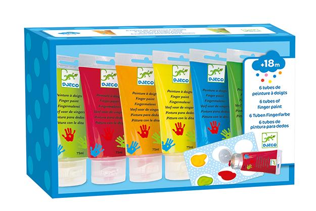 Colores Pintura de dedos 6 tubos