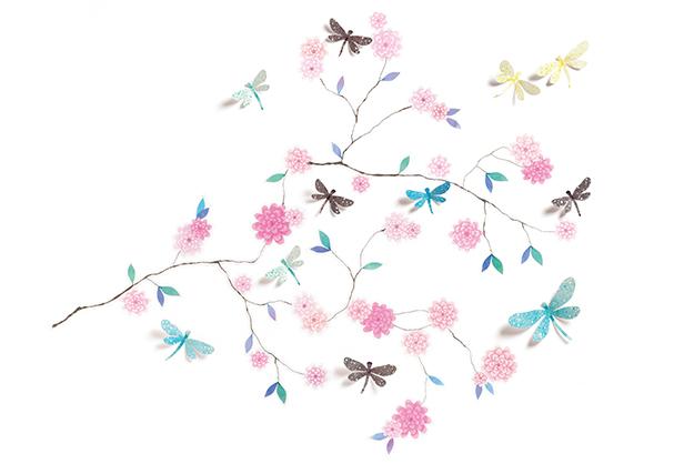 Stickers 3D  Arbol de libélulas
