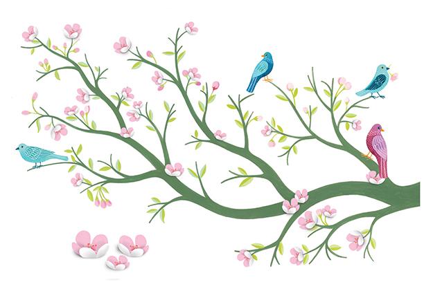 Stickers 3D  Cerezo en flor